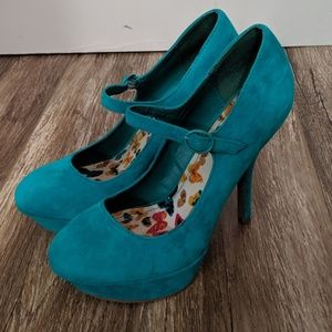 Bamboo Teal Turquoise Faux Suede Mary Jane Heels
